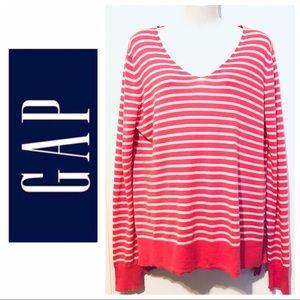 Gap striped sweater V neck  size:L
